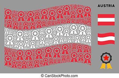 onduler, certificat, icônes, drapeau, collage, cachet, autrichien