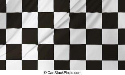 onduler, checkered, 1, drapeau, animation, 2, vent