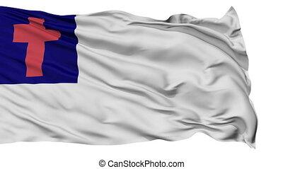 onduler, chrétien, drapeau, religieux, isolé