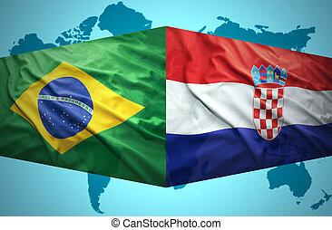 onduler, croate, drapeaux, brésilien