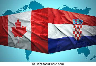 onduler, croate, drapeaux, canadien