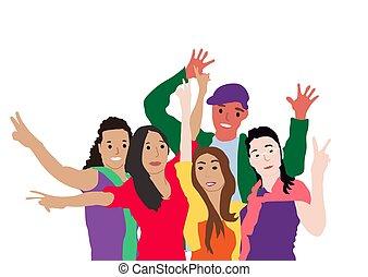 onduler, dessin animé, amis, garçons ensemble, vecteur, position souriante, plat, groupe, isolé, heureux, ou, arms., portrait, illustration., filles, école, blanc, étudiants, arrière-plan.