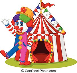 onduler, dessin animé, clown, main