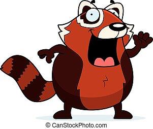 onduler, dessin animé, panda rouge