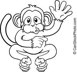onduler, dessin animé, singe, pointage, animal