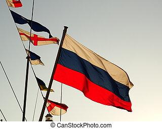 onduler, drapeau russe, mât, bateau