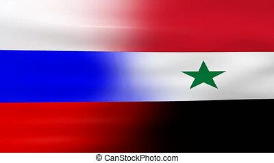 onduler, drapeau syrie, russie
