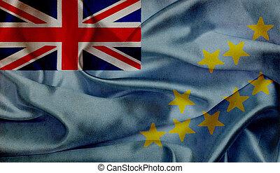 onduler, drapeau tuvalu, grunge