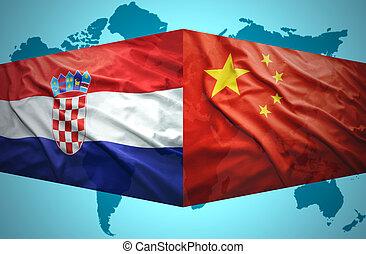 onduler, drapeaux, chinois, croate