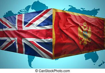 onduler, drapeaux, montenegrin, britannique