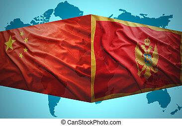 onduler, drapeaux, montenegrin, chinois