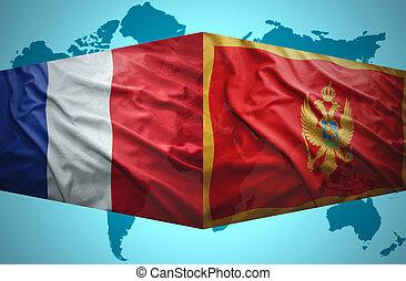 onduler, drapeaux, montenegrin, francais