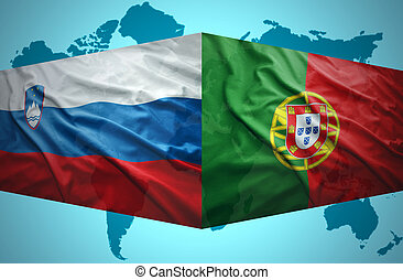onduler, drapeaux, slovène, portugais