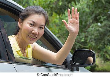 onduler, femme voiture