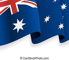 onduler, flag., australien, vecteur, fond