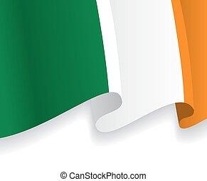 onduler, flag., irlandais, vecteur, fond