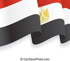 onduler, flag., vecteur, fond, égyptien