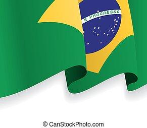 onduler, flag., vecteur, fond, brésilien