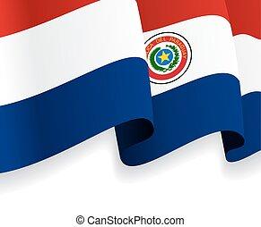 onduler, flag., vecteur, fond, paraguayen