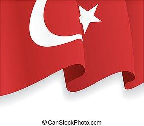onduler, flag., vecteur, fond, turc