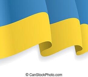 onduler, flag., vecteur, fond, ukrainien
