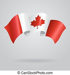 onduler, flag., vecteur, illustration, canadien