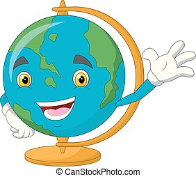 onduler, globe, dessin animé, mondiale, caractère