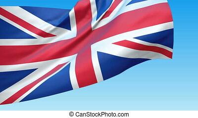 onduler, grand, drapeau, grande-bretagne, loopable
