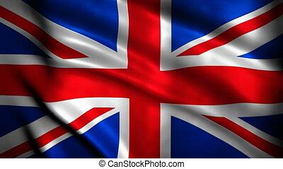 onduler, grand, drapeau, grande-bretagne, v