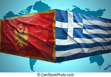 onduler, grec, drapeaux, montenegrin