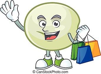 onduler, heureux, hoppang, tenue, vert, sac à provisions, riche