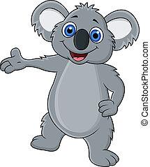 onduler, heureux, koala, dessin animé, main