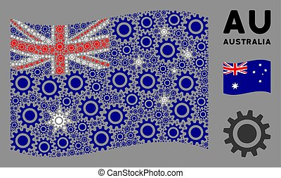 onduler, icônes, collage, drapeau australie, dent