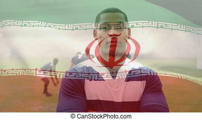 onduler, joueur, drapeau, mélangé, sur, animation, rugby, ...