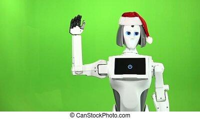 onduler, lent, robot, screen., mouvement, vert, santa chapeau, hi.