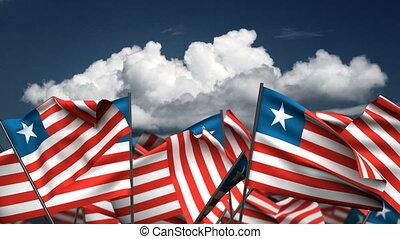 onduler, libéria, drapeaux