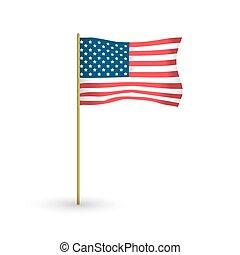 onduler, mât, drapeau, vecteur, américain