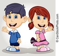 onduler, main, dessin animé, enfants