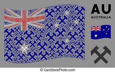 onduler, marteaux, articles, australie, mosaïque, drapeau