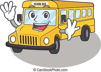 onduler, mascotte, style, amical, conception, autobus, école