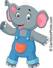 onduler, mignon, éléphant, dessin animé, main
