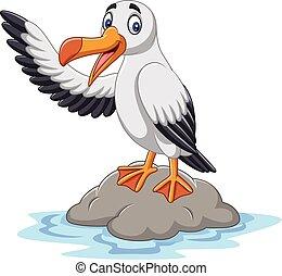onduler, mignon, albatros, dessin animé