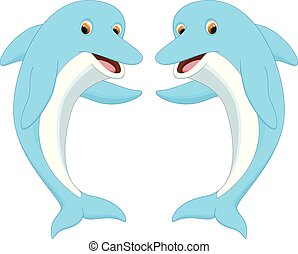 onduler, mignon, couple, dauphin, dessin animé