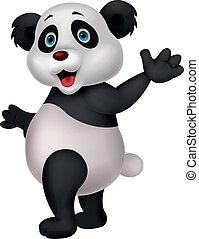 onduler, mignon, dessin animé, panda, main