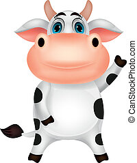 onduler, mignon, dessin animé, vache