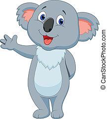 onduler, mignon, koala, dessin animé, main