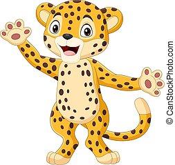 onduler, mignon, léopard, dessin animé, main