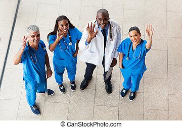 onduler, monde médical, vue, au-dessus, médecins