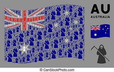 onduler, mort, icônes, scytheman, modèle, drapeau australie