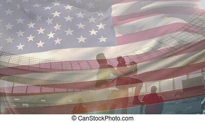 onduler, multi-ethnique, drapeau, etats-unis, sur, équipes, jouer, deux, animation, rugby